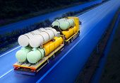 stock photo of tank truck  - The tanker truck on the highway - JPG
