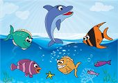 pic of sea-scape  - Underwater scene with 6 different types of fish - JPG