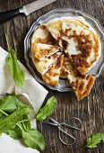 image of sorrel  - Homemade Flatbread With Sorrel and fresh sorrel on table - JPG