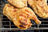 pic of spit-roast  - the chicken half roasted over a fire - JPG