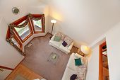 pic of upstairs  - Panoramic view of living room from upstairs deck - JPG