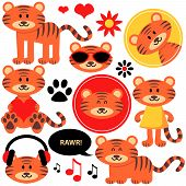 stock photo of tiger cub  - Vector set of cute funny tiger cubs - JPG