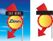 stock photo of diners  - vintage style cafe or diner signs isolated on white - JPG