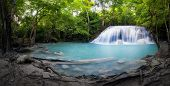 pic of waterfalls  - Panorama of tropical forest - JPG