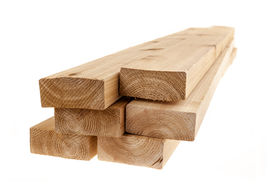 pic of 2x4  - Edge of six cedar two by four wood boards on white background - JPG