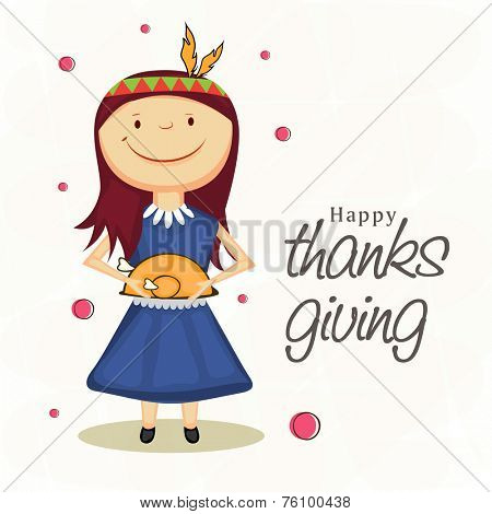 Cute little smiling girl holding a cooked chicken plate for Thanksgiving party celebrations.