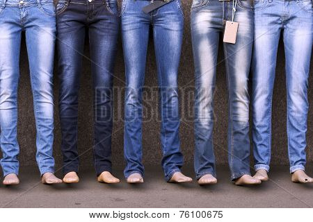 Mannequins dressed in jeans