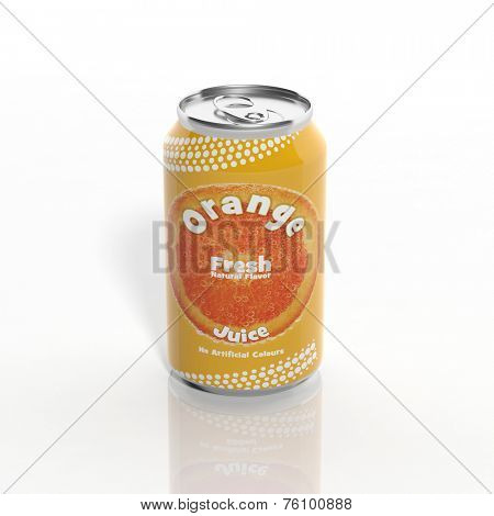 3D Orange Soda can isolated on white