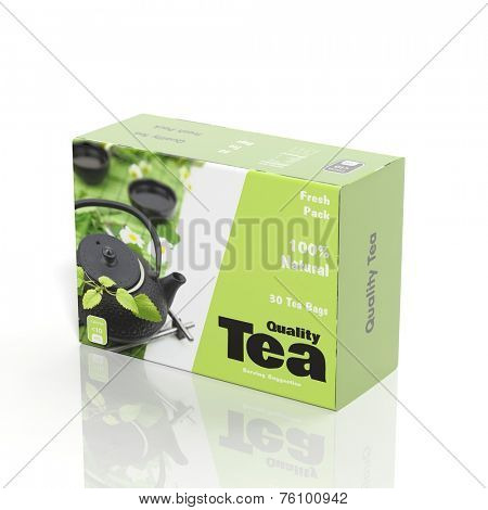 3D Tea paper package isolated on white