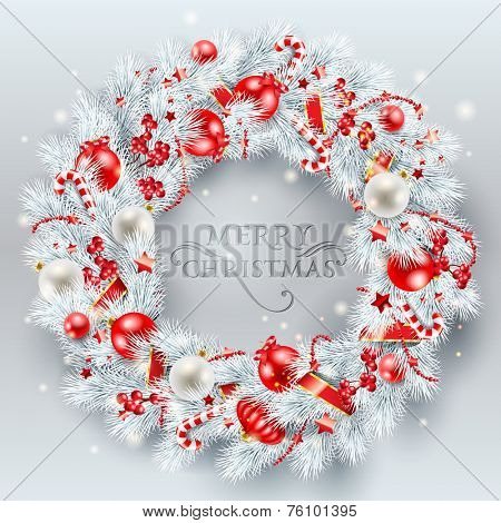 Christmas decoration. The wreath made of white pine branches with red balls. Vector illustration.