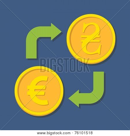 Currency Exchange. Euro And Hryvnia.