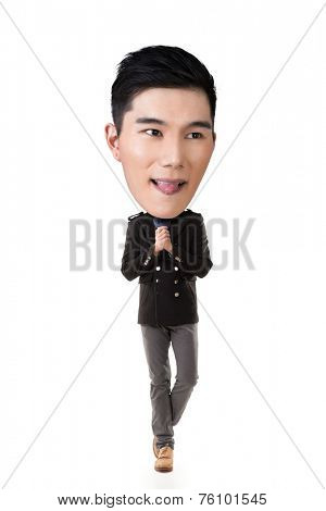Funny Asian big head man, full length portrait.