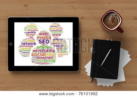 SEO and online marketing concept on tablet computer (3D Rendering)