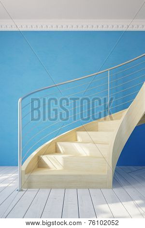 Spiral staircase in a room with blue wall (3D Rendering)