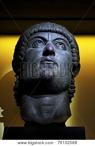 Head, From A Colossal Statue Of Constantine, Plaster Cast Reconstruction. Rome, Italy