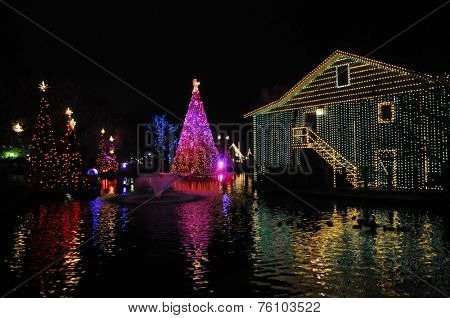 A black nigh'st view of Christmas trees and a building draped in colorful lights and surrounded by water.