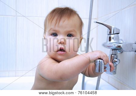 Baby In Bathroom