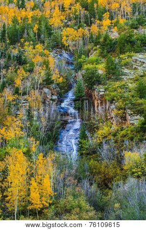 Colorado Fall Colors High Mountain Water Cascade
