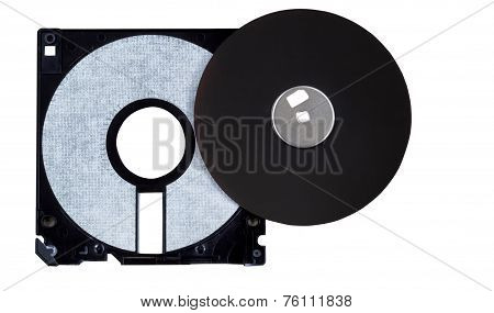 Inside Parts Of A Computer Diskette Or Floppy Disk On White