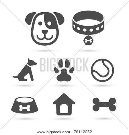 Cute dog icon symbol set on white. Vector