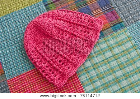 Infant's Pink Crocheted Hat