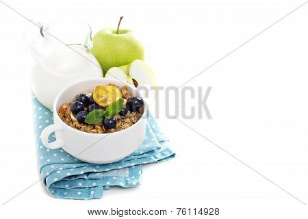 Homemade granola isolated on white