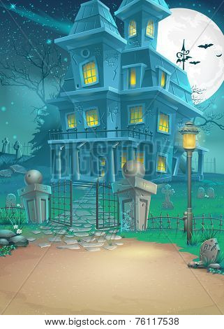 Illustration of a haunted house on a moonlit night