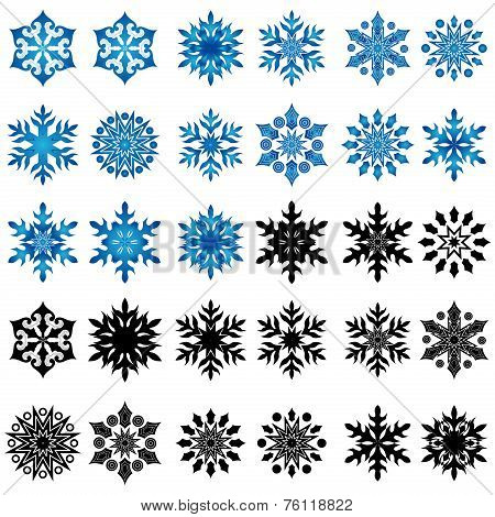 Set Of Thirty Blue And Black Snowflakes