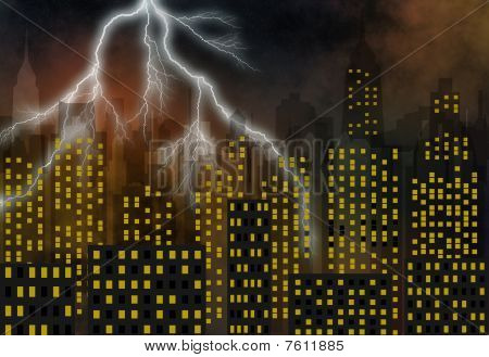 Skyscrapers - Panorama Of Modern Town - Stormy