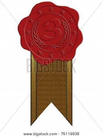 Third Place Red Wax Seal With Ribbon