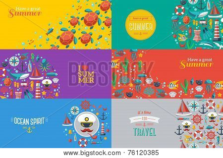 Summer Banners with marine symbols.