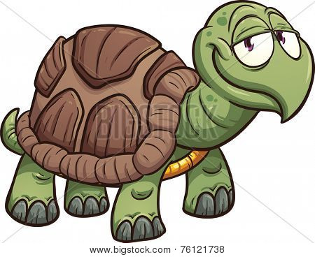 Cartoon turtle. Vector clip art illustration with simple gradients. All in a single layer.