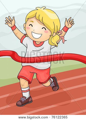 Illustration Featuring a Girl Celebrating Her Winning of the Race