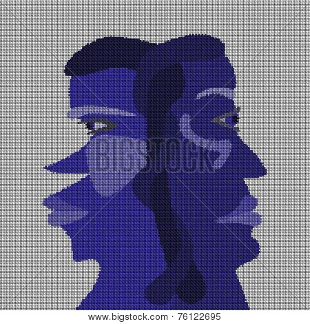 Two faces head - abstract surreal  illustration of schizophrenia on fabric texture
