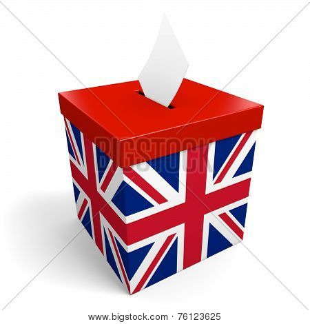 United Kingdom ballot box for collecting election votes in the UK or Britain