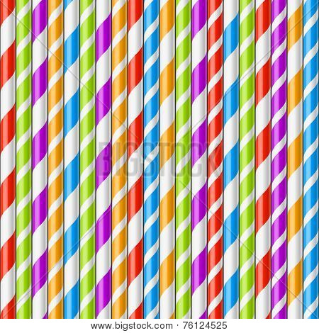 Striped drinking straws background, seamless vector.