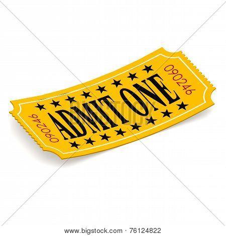 Admit One Ticket On White Background