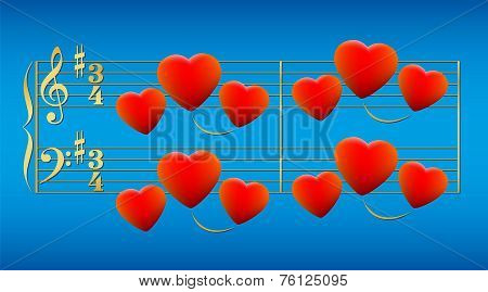 Love Song Hearts Gold