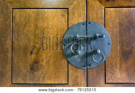 Vintage black Latch on wood cupboard