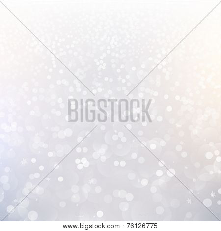 Blurred Christmas Lights for Xmas Holiday Design. Abstract Vector Illustration with Snowflakes and Typographic Winter Label.