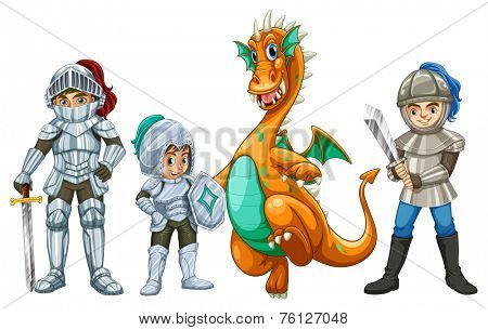 Knights and a dragon on white