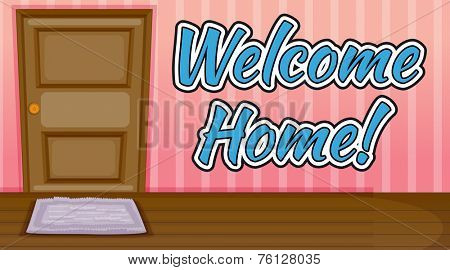 Welcome home text inside a room