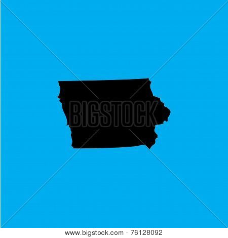 Coloured Background With The Shape Of The United States State Of Iowa