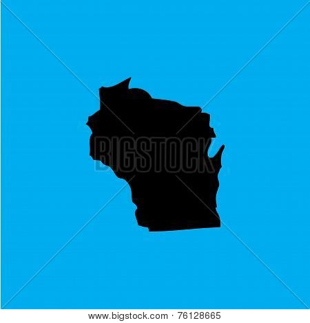 Coloured Background With The Shape Of The United States State Of Wisconsin