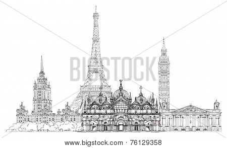Sketch collection of famous buildings. Eiffel tower, St. Marco in Venice, big Ben in London, Stalin'