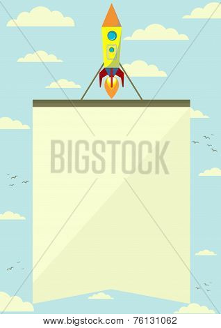 Space Rocket with a Banner Flying Upwards, Vector Illustration