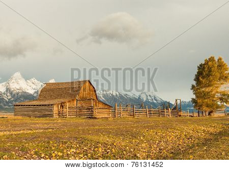 A Barn with Teton Mountains
