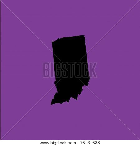 Coloured Background With The Shape Of The United States State Of Indiana