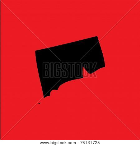 Coloured Background With The Shape Of The United States State Of Conneticut