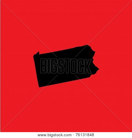 Coloured Background With The Shape Of The United States State Of Pennsylvania